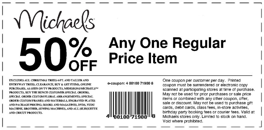 Michaels printable coupons december 2014 for Coupons michaels arts and crafts